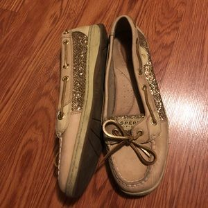 Gold glitter Sperry shoes